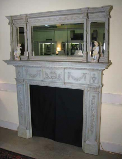 Exquisite Mantle and Overmantle in Green Paint