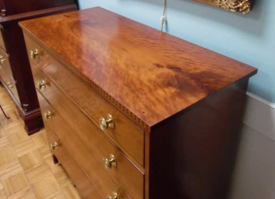 New Hampshire Figured Cherry Chest with Herringbone Inlay along the Front