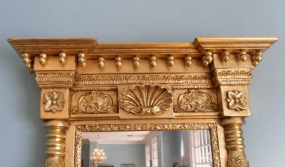 Federal Gilt Pier Mirror with Spiral Carved Columns