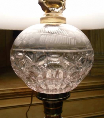 Sandwich Glass Lamp with Milk Glass Base