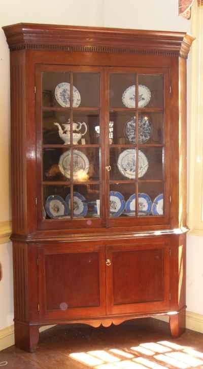 One Piece American Corner Cupboard in Cherry