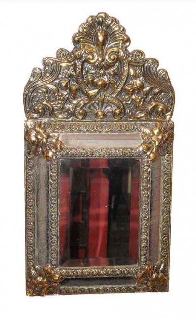 18th Century Style Puffed Brass Mirror