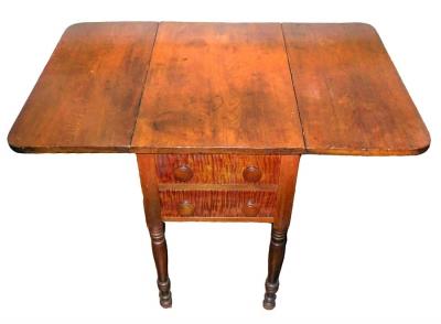 Two Drawer Drop Leaf Table in Walnut