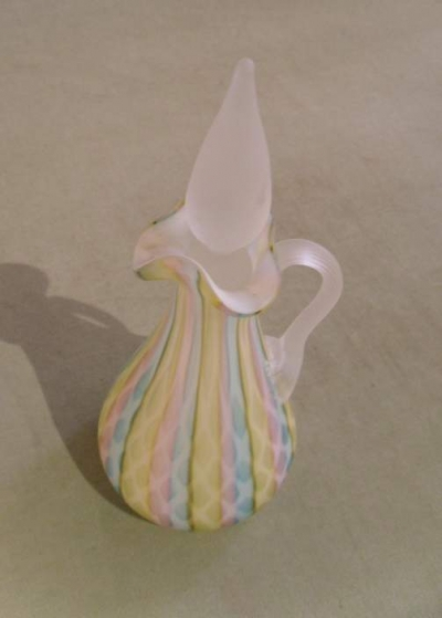 Rainbow Satin Glass Decanter With Stopper