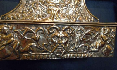 Embossed Brass Wall Pocket with Hinged Lid