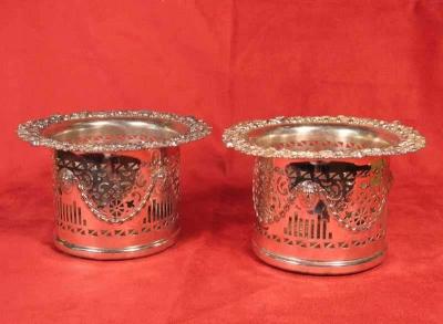 Ornate Silver Plate Wine Coasters