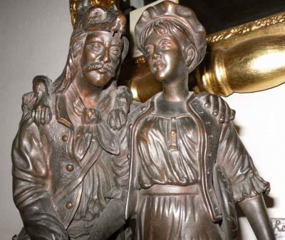 Bronze 19th Century Figure with Man and Girl Depicting Red Riding Hood and Wolf