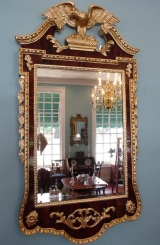 Centennial Carved Burled Walnut and giltwood Chippendale Style Wall Mirror