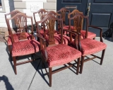 Set of Eight Hepplewhite Style Mahogany Chairs with Upholstered Seats