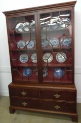 Mahogany Glazed Door Breakfront or Display Cabinet