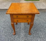 Interesting Figured Cherry Work Table with Chip Carved Stiles
