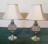 Pair of Small Cut Glass Peg Lamps