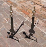 Pair of Brass and Iron Knife Blade Andirons