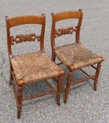 A Pair of Tiger Maple Side Chairs in Klismos Shape