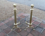 Handsome Tall Brass Andirons with Ball and Claw Feet