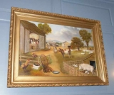 Oil on Canvas of Farm Yard Scene by Reginald Jacqman