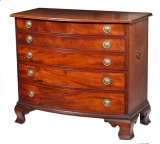 American 18th Century Chippendale figured mahogany five drawer chest