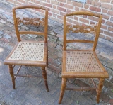 Pair of New York Tiger Maple Side Chairs