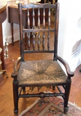 English Oak Spindle Back Arm Chair with Rush Seat and Ball Feet
