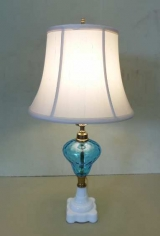 Oil Lamp with Blue Basin and Milk Glass Base