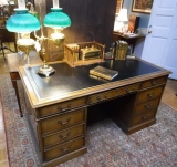 Handsome Kittinger Double Pedestal Executive Desk with leather Top