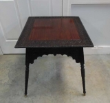 Most Unusual Rosewood Side Table with Heavy Floral Carving