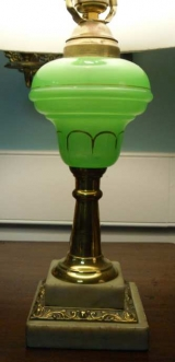Fluid Lamp with Molded Font in Green Glass on Marble Base