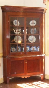 One Piece American Corner Cupboard in Cherry