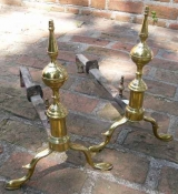 Pair of American Steeple Top Andirons