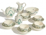 18th Century Creamware Tea Service with Green Swags