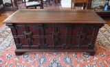Large Purpleheart Wood Blanket Chest with Geometric Molding
