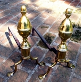Brass Andirons with Penny Foot