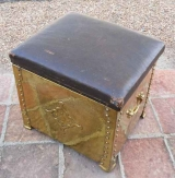 Brass Coal Bin with Leather Top