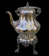 Silver Plate Hot Water Swing Kettle on Stand