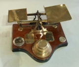 Brass Postal Scales Mounted on Wooden Base