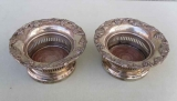 Pair of Small Silver Plate Wine Coasters