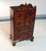 Miniature Provincial Tall Chest with Scrolled Crest