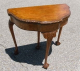 Chippendale Style Burlwood Fold Over Game Table