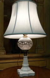 Sandsich Glass Lamp with Milk Glass Base