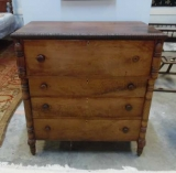 Southern Walnut Empire Chest with Elaborately Carved Columns