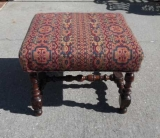 18th Century Turned and Upholstered Stool