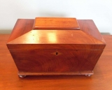 Mahogany Fitted Tea Caddy with Coffin shaped Top and Small Button Feet