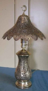 Reticulated Brass Lamp in Urn Shape