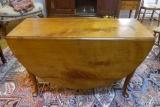 American Walnut Oval Drop Leaf Table with Cabriole Legs and Trifid Feet