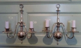 Pair of Silver Plated Double Arm Sconces
