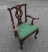 George II Arm Chair in Oak with Trifed Feet