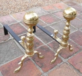 Pair of Boston Andirons with large Ball Finials