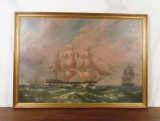 Large Oil on Canvas of British Frigate by W. Dunnage 1843