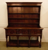 19th Century English Oak Welsh Dresser with Geometric Drawer Fronts