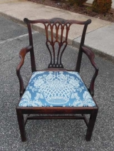 English George III Mahogany Arm Chair with Straight Legs and Pierced Splat